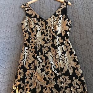 Black Mini Dress with Gold Floral Sequins
